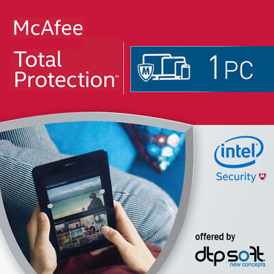 McAfee Total Protection 2017 1 PC 12 Months License Antivirus 2016