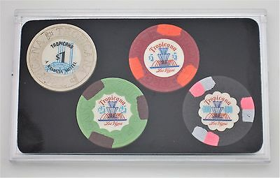 Tropicana Las Vegas Casino Collector Poker Chip Set - 4 Authentic Casino Chips *