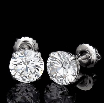 5.00 Ct Round Cut Earrings 14K Solid White Gold Basket Stud Brilliant Screw-Back