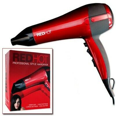 Red Hot 2200W Professional Style Hairdryer 3 Heat 2 Speed Settings Hair Dryer