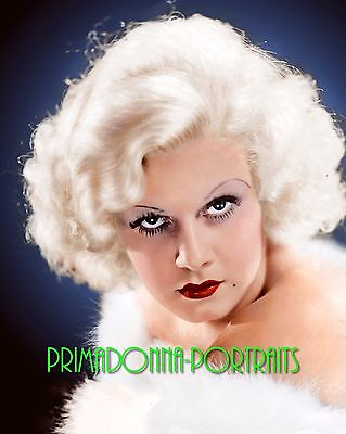 JEAN HARLOW 8X10 Lab Photo Colorized '30s Sexy Blue Eyed Platinum Hair Portrait