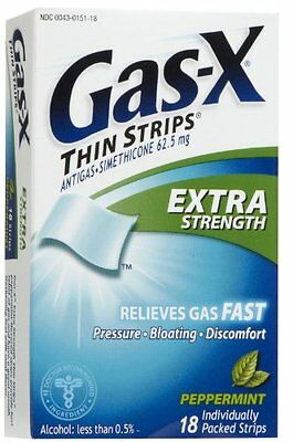 Gas-X Thin Strips Extra Strength Peppermint 18 Each (Pack of 3)