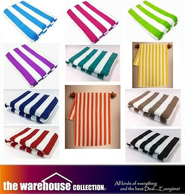 11 Colours! 100% COTTON STRIPE STRIPED TOWELS POOL BEACH BATH TOWEL 75cm X 150cm
