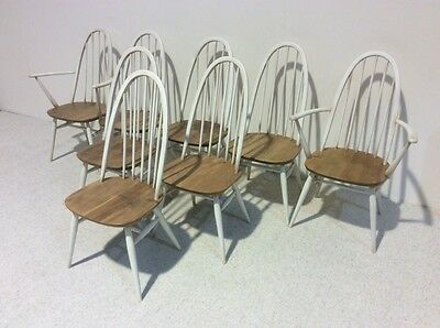 Set Of 8 Ercol Quaker Chairs Elm Rare Design Vintage More Ercol In Stock