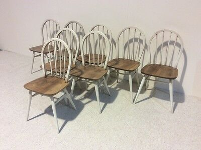 Set Of 8 Ercol Chairs Elm Rare Wheel Back Design Vintage More Ercol In Stock