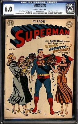 Superman #61 GCG 6.0 , Origin of Superman retold!