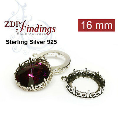 2pcs Round 16mm Bezel Cup Pendant Setting Sterling Silver 925 Choose Your Finis