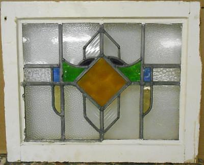 """OLD ENGLISH LEADED STAINED GLASS WINDOW Nice Geometric Design 20.5"""" x 16.75"""""""
