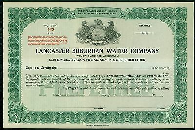 Lancaster Suburban Water Company of Lancaster,PA Stock Certificate