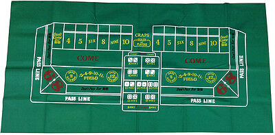 """LAYOUT - NEW CASINO STYLE CRAPS 36"""" x 72"""" GREAT FOR HOME USE & DICE THROWING *"""