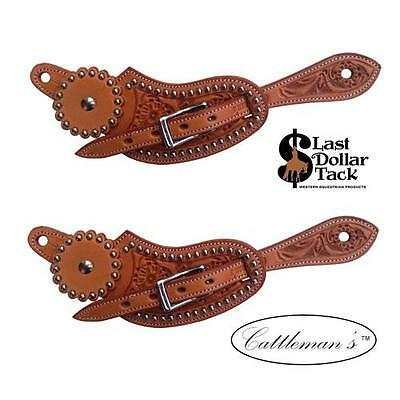 Ladies Western Spur Straps Russet Floral Tooled Wicket & Craig Leather With Dots