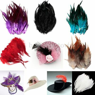 50PCS Beautiful Rooster Tail Feathers Bridal Wedding Crafts Millinery Cloth