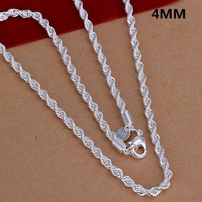 Jewellery Silver Plated 2MM-4MM Men Rope Chain Charm Necklace 16-30 inch