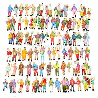 100pcs Mixed Painted Model Trains People Passengers Figures Poses Scale 1:87