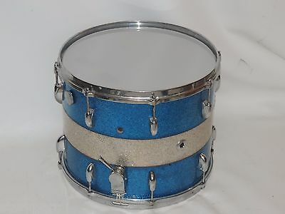 "Vintage Gretsch 15"" Snare Drum Blue Silver Sparkle Paper Label # 92942"