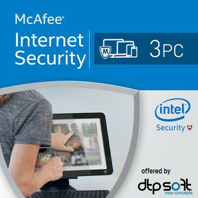 McAfee Internet Security 2017 3 PC 12 Months License Antivirus 2016 3 user