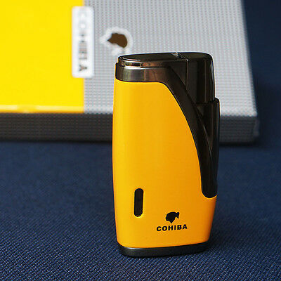 COHIBA Yellow Metal 2 TORCH JET FLAME CIGARETTE  CIGAR LIGHTER WITH Cigar PUNCH