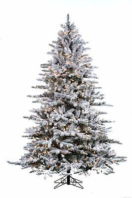 NEW Santa's Own 7.5' Snowy Mountain Flocked Lighted Artificial Christmas Tree