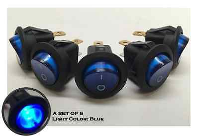 5 Pcs Marine Boat Automotive Car Small Round Blue Led Rocker Switch Spst On/off