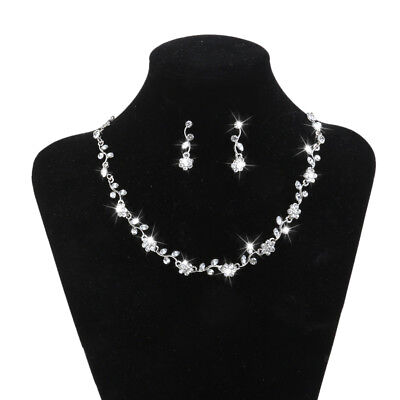 Bridal Jewelry Set Rhinestone Diamante Necklace Earrings Wedding Dress Decor