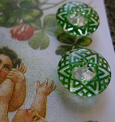 "Set of 4 Vintage 1/2"" Kelly Green Crystal Star Line Glass Buttons ~new/old stock"