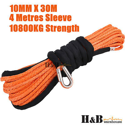 10MM x 30M Dyneema Winch Rope Synthetic Cable 4WD Tow Recovery ORG C0077