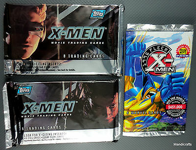 Topps X-Men Pack x 2 of 8 Trading Cards 2000 One Fleer Marvel of 6 1995 Sealed