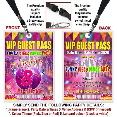 PARTY INVITATION LANYARD VIP Guest Pass Neon Glow Red Pink or Blue Personalised