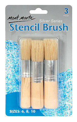 Mont Marte Silver Series Stencil Brushes Packet of 3