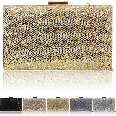 New Glitter Hard Compact Ladies Clutch Bridal Women Party Wedding Evening Bag UK