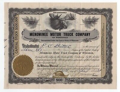 Menominee Motor Truck Co. of Wisconsin Stock Certificate w/Moose vignette