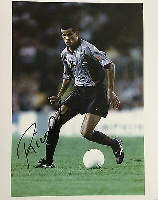 Rivaldo signed 10x8 Barca photo Image C UACC AFTAL registered dealer COA