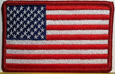 United States USA Flag 3 X 2  Iron-On Patch American Morale Emblem Red Border #1