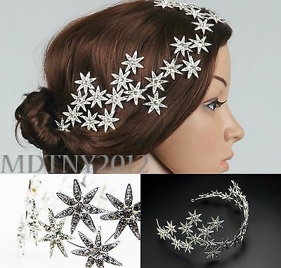 New Jewelry Crystal Stars Chain Headband Wedding Prom Crown Tiara Hair Accessory