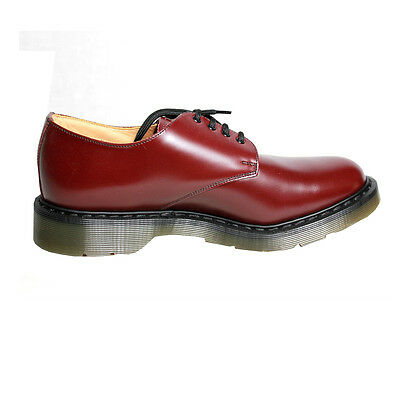 SOLOVAIR MADE IN UK Men's shoe burgundy with laces colored rubber sole