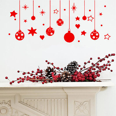 Christmas Wall / Window Decorations  Stickers Baubles Ans Stars & Snow   X Mas