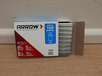 Arrow T-50 T50 Tacker  Staples 12Mm 1250 Per Pack