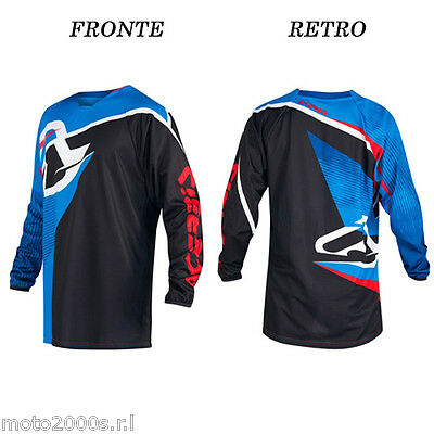 Maglia Manica Lunga Mx Profile Acerbis Nero Blu Per Moto Cross Enduro Off Road