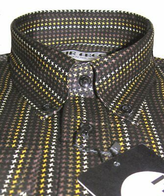 Mens Shirt Black Gold Dogstooth Luxury 100% Cotton Button Down Collar Mr Free