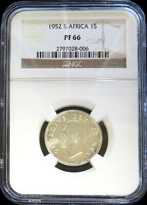 1952 Silver South Africa Shilling George Vi Coin Ngc Proof 66