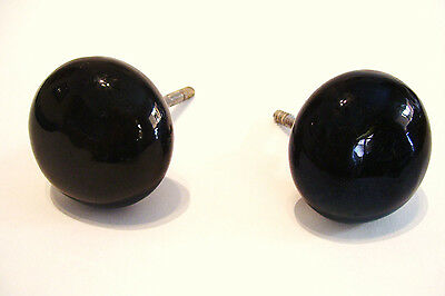 Pair Black Porcelain Door Knobs with Screw Back 2.25 Inches  Wide - Antique