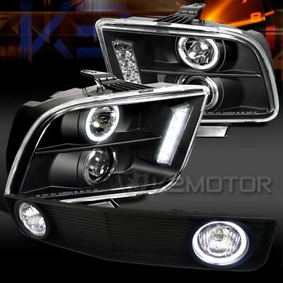 05-09 Mustang Black Halo LED Projector Headlights+Grille w/ Fog Lamps