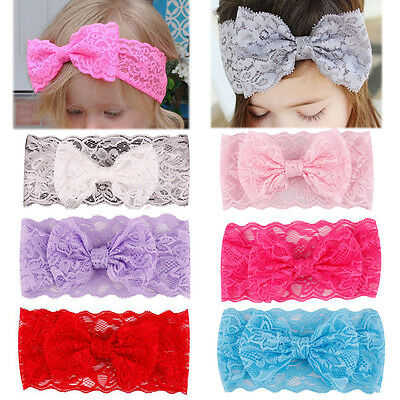 Kids Baby Girl Headband Toddler Lace Bow Flower Hair Band Accessories Headwear