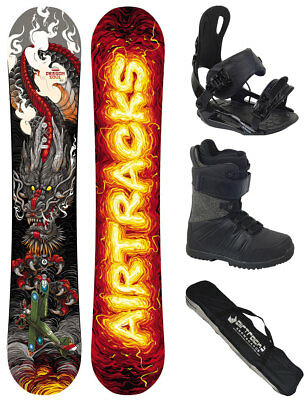 AIRTRACKS Snowboard Set Dragon Soul Rocker Wide+Bindung+Boots+Bag 150 155 158 cm