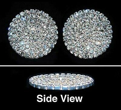 Gorgeous Pave Concave Round Shoe Clips Charms--1 Pair-Bridal Party-