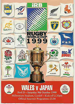 WALES v JAPAN 9 th OCTOBER 1999 RUGBY WORLD CUP PROGRAMME
