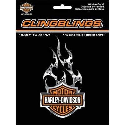 Harley-Davidson Black & Silver Cling Bling Decal 3D free shipping