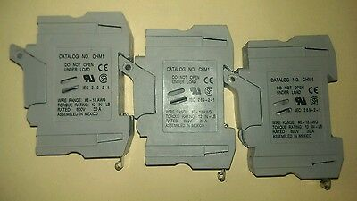 Lot of 3 BUSSMANN CHM1 600V 30A Fuse Holder Used