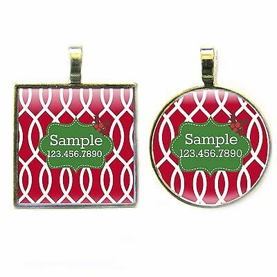 Holly Christmas Holiday Pet ID Tag