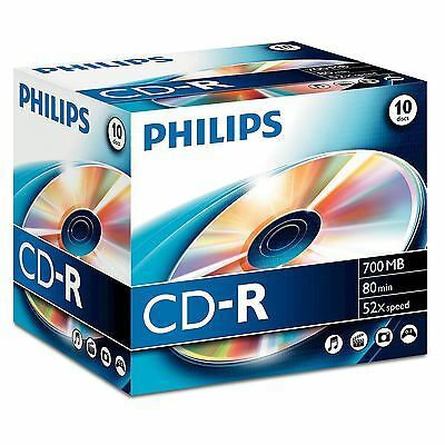 Philips CD-R 80 minutes 700MB 52x Speed Recordable Blank Discs - 10 Pack Cases